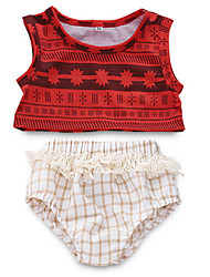 cheap -Baby Girls' Active Daily Print Sleeveless Regular Polyester Clothing Set Red