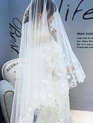 Недорогие -Один слой Цветочный дизайн Свадебные вуали Фата для венчания с Вышивка бисером в виде цветов 118,11 в (300см) Тюль