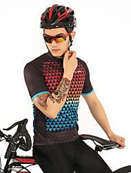お買い得  -FirtySnow 男性用 半袖 サイクリングジャージー - 赤 + 青 チェック / 格子柄 バイク ジャージー, 高通気性 速乾性 ポリエステル / 伸縮性あり