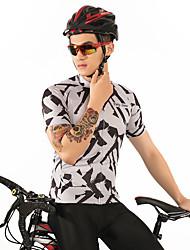 お買い得  -FirtySnow 男性用 半袖 サイクリングジャージー - ブラック / ホワイト ゼブラ柄 バイク ジャージー, 高通気性 速乾性 ポリエステル / 伸縮性あり