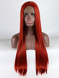 voordelige -Pruik Lace Front Synthetisch Haar Dames Recht Rood Gratis deel 180% Human Hair Density Synthetisch haar 18-26 inch(es) Verstelbaar / Kant / Hittebestendig Rood Pruik Lang Kanten Voorkant Rood