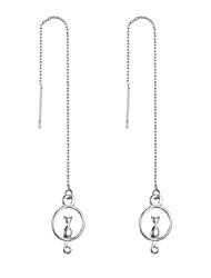 hesapli -1 çift Kadın's Uzun Küpe - Kedi abartma sevimli Stil Mücevher Gümüş Uyumluluk Parti Cadde
