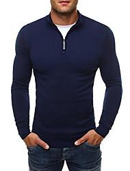 Недорогие -Муж. Повседневные Однотонный Длинный рукав Обычный Пуловер Черный / Темно-серый / Темно синий XL / XXL / XXXL