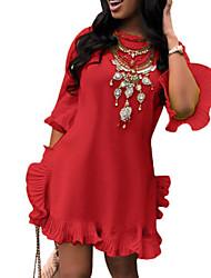 Недорогие -Жен. Классический Вспышка рукава Оболочка Платье - Однотонный / Контрастных цветов Мини