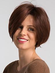 voordelige -Human Hair Capless Pruiken Echt haar Natuurlijk recht Pixie-kapsel Modieus Design / Gemakkelijke dressing / Comfortabel Bordeaux Kort Zonder kap Pruik Dames / Ombre-haar / Natuurlijke haarlijn