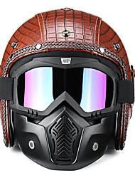 Недорогие -3/4 открытый чоппер мотоцикл из искусственной кожи шлем маска с очками для Harley