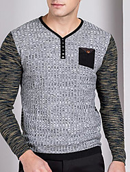 ราคาถูก -สำหรับผู้ชาย ทุกวัน สีพื้น แขนยาว ปกติ ผ้าคลุมหลัง สีเทา L / XL / XXL