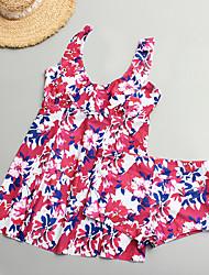 povoljno -Žene Osnovni Crn Red Suknja Jednodijelno Kupaći kostimi - Geometrijski oblici XXL XXXL XXXXL