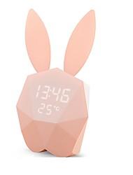 Недорогие -многофункциональные настенные часы термометр перезаряжаемые фонари кролик голос активирован будильник цифровой светодиодный ночник новинка