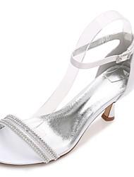 hesapli -Kadın's Ayakkabı Saten İlkbahar yaz Tatlı Düğün Ayakkabıları Kıvrımlı Topuk Yuvarlak Uçlu Düğün / Parti ve Gece için Işıltılı Pullar Mavi / Açık Kahverengi / Kristal