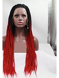 halpa -Synteettiset pitsireunan peruukit Naisten punottu Punainen Kerroksittainen leikkaus 130% Hiuksista Density Synteettiset hiukset 24 inch Naisten Punainen / Musta Peruukki Pitkä Lace Front Musta