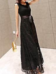 Недорогие -Жен. Классический Оболочка Платье - Однотонный / Геометрический принт, Кружева Макси