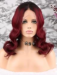 voordelige -Mensen Remy Haar Kanten Voorkant Pruik Braziliaans haar Golvend Bruin Pruik Asymmetrisch kapsel 130% Haardichtheid Dames Gemakkelijke dressing Naturel Natuurlijke haarlijn 100% Maagd Bruin Dames Lang