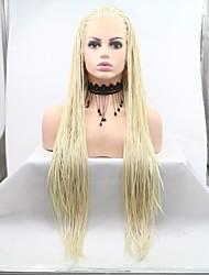 halpa -Synteettiset pitsireunan peruukit Naisten punottu Valkoinen Kerroksittainen leikkaus 130% Hiuksista Density Synteettiset hiukset 24 inch Naisten Valkoinen Peruukki Pitkä Lace Front Blonde Sylvia
