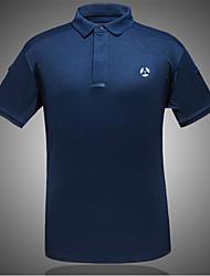 저렴한 -남성용 하이킹 T-셔츠 집 밖의 가을 봄 여름 경량 빠른 드라이 통기성 자외선 방지 나일론 티셔츠 야외운동 캠핑 / 등산 / 동굴탐험 일상용 네이비 블루