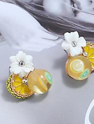 economico -Per donna Tropicale Orecchini a bottone - Resina Fiore decorativo Tropicale Gioielli Giallo Per Quotidiano Strada Per uscire / 1 paio