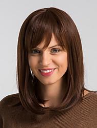 voordelige -Human Hair Capless Pruiken Echt haar Natuurlijk recht Bobkapsel Modieus Design / Gemakkelijke dressing / Comfortabel Bruin Gemiddelde Lengte Zonder kap Pruik Dames / Natuurlijke haarlijn