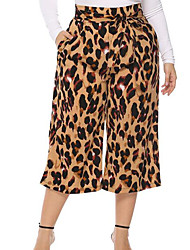 Недорогие -узкие женские широкие брюки - желтый леопард