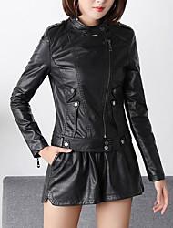 ราคาถูก -สำหรับผู้หญิง ทุกวัน ฤดูใบไม้ร่วง & ฤดูหนาว ปกติ แจ๊คเก็ต, สีพื้น Rolled collar แขนยาว สังเคราะห์ / เส้นใยสังเคราะห์ สีดำ XL / XXL / XXXL