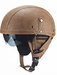 Недорогие -ретро пу мотоцикл полушлем открытый лицо с забралом мотоцикл скутер круиз безопасность