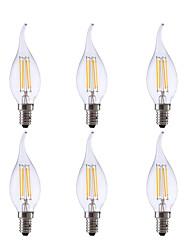 hesapli -GMY® 6pcs 3.5 W 350 lm E12 LED Filaman Ampuller CA10 4 LED Boncuklar COB Dekorotif Sıcak Beyaz 120 V