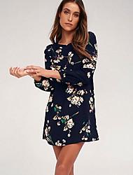 Недорогие -женское платье выше колена туника с высокой талией лето королевский синий s m l xl