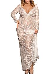 Недорогие -Жен. Большие размеры Сексуальные платья Кружевное белье / Халат / Ультра-секси Ночное белье - Кружева, Подарок Однотонный / V-образный вырез