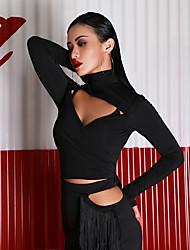 お買い得  -ラテンダンス トップス 女性用 性能 プロミックス フリル 長袖 上着