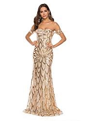 Недорогие -Жен. Элегантный стиль Оболочка Платье - Цветочный принт, Открытая спина Макси