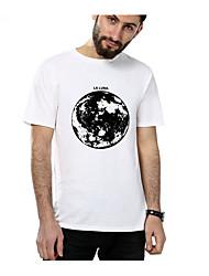 baratos -t-shirt asiático do tamanho dos homens - bloco da cor / pescoço redondo geométrico