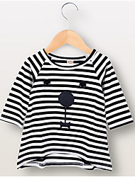cheap -Baby Girls' Active Striped Long Sleeve Polyester Dress Black