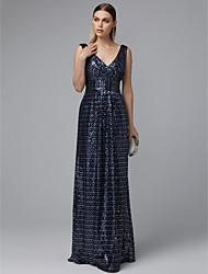 ราคาถูก -A-line คอวี ลากพื้น เลื่อม สะท้อนแสง ทางการ แต่งตัว กับ เลื่อม โดย TS Couture®