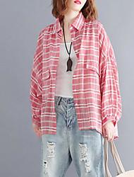 olcso -női ázsiai méretű vékony ing - tömör színű ing gallér