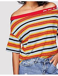 Недорогие -Тонкая футболка азиатского размера для женщин - цвет блока на шее