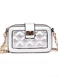 cheap -Women's Bags PU(Polyurethane) Shoulder Bag Lattice White / Black / Silver