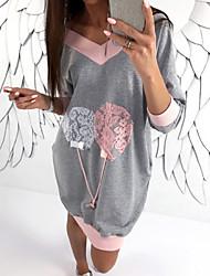 billiga -kvinnors slanka tröja - färgblock v nackrosa xs