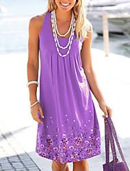 Недорогие -Жен. Тонкие Прямое Платье - Цветочный принт Завышенная U-образный вырез Выше колена / Сексуальные платья