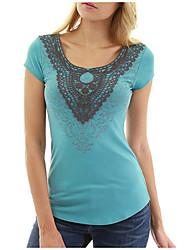 billige -Dame - Ensfarvet / Geometrisk Basale T-shirt