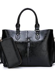 abordables -Mujer Bolsos PU Conjuntos de Bolsa 2 piezas de monedero conjunto Cremallera Color sólido Negro / Marrón