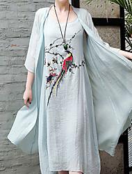 baratos -Mulheres Vintage / Elegante Reto / balanço Vestido - Estampado, Floral Médio
