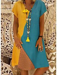 baratos -mulheres diariamente na altura do joelho uma linha vestido v pescoço algodão branco bege amarelo s m l xl
