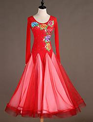 Χαμηλού Κόστους -Επίσημος Χορός Φορέματα Γυναικεία Επίδοση Spandex Κέντημα / Διαφορετικά Υφάσματα / Κρύσταλλοι / Στρας Μακρυμάνικο Φόρεμα