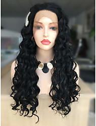 Χαμηλού Κόστους -Συνθετικές μπροστινές περούκες δαντέλας Σπειροειδής μπούκλα Μαύρο Κούρεμα με φιλάρισμα Μαύρο 130% Ανθρώπινο πυκνότητα των τριχών Συνθετικά μαλλιά 12 inch Γυναικεία Γυναικεία Μαύρο Περούκα Κοντό / Ναι