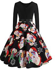 baratos -Mulheres Vintage balanço Vestido - Estampado Médio