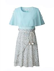 baratos -Mulheres Elegante Chifon Vestido - Franzido / Taxas / Estampado, Floral Acima do Joelho
