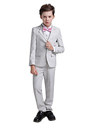 cheap -Silver Polyester Taffeta Ring Bearer Suit - 1 set Includes  Vest