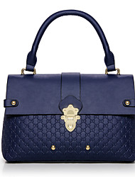 abordables -Mujer Bolsos PU Tote Botones / Cremallera Color sólido Azul Piscina / Negro / Rojo