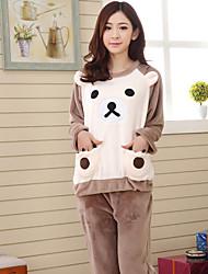 040bd47fdd48fd tanie Piżamy kigurumi-Dla dorosłych Bluza z Kapturem Piżama Kigurumi  Niedźwiedź Piżama Onesie Flanel Beżowy