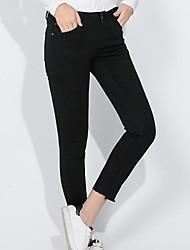 levne -dámské asijské velikosti štíhlé kalhoty kalhoty - pevné barvy černé