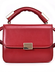 preiswerte -Damen Taschen PU Tragetasche Reißverschluss Volltonfarbe Rote / Braun / Khaki